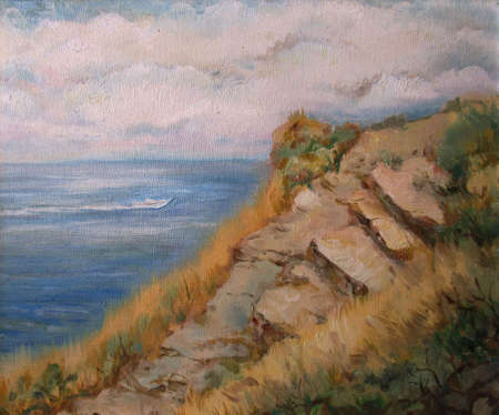 Coast of the sea, summer view, oil painting 版權商用圖片