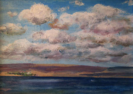 Clouds over the blue sea, oil painting 版權商用圖片