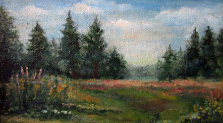 Spruce green forest in autumn, oil painting