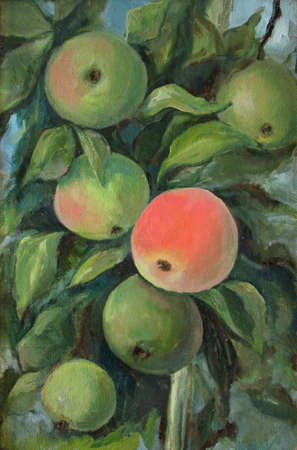Wild apples on the branch, oil painting