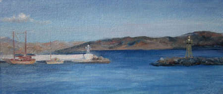Crete view with mountains and the blue sea, oil painting 版權商用圖片