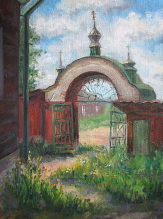 Church gates in summer, sunny day, oil painting
