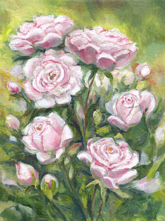 Pink roses on the dark background, oil painting