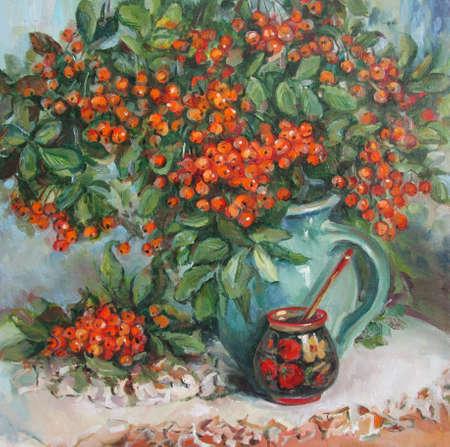 Bouquet of ripe orange rowan, oil painting