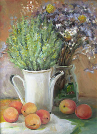 Still life with dried flowers and peaches, oil painting