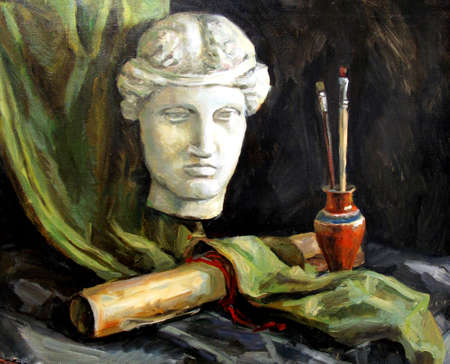 still life with a plaster head, oil painting