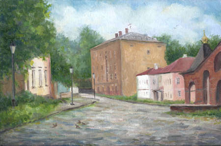 Old street in Russia, summer day, oil painting