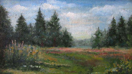 Spruce green forest in summer, oil painting