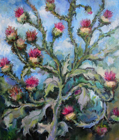Wild Thistle on the blue background, oil painting 版權商用圖片