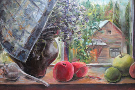 Window view in the village, window sill with apples, oil painting