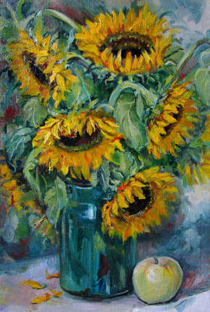 Big bouquet with sunflowers and an apple, oil painting 版權商用圖片