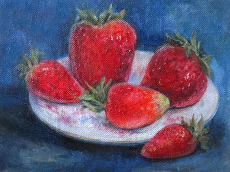 Ripe Strawberries, original oil painting on canvas