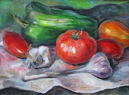 Ripe colorful vegetables on the table, oil painting 版權商用圖片