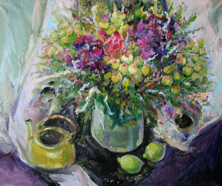 still life with exotic flowers and limes in purple tones, oil painting