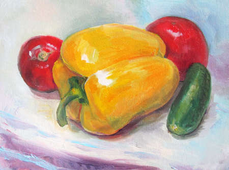 Yellow pepper, tomato and cucumber, oil painting