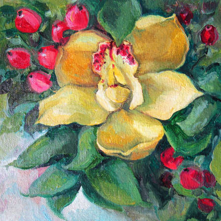 Yellow orchid and red berries, oil painting