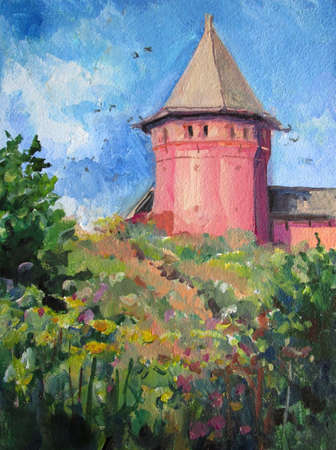 Summer in Suzdal. monastery in russia, painting Imagens