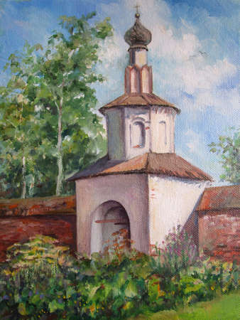 russian architecture in Suzdal, summer day, oil painting