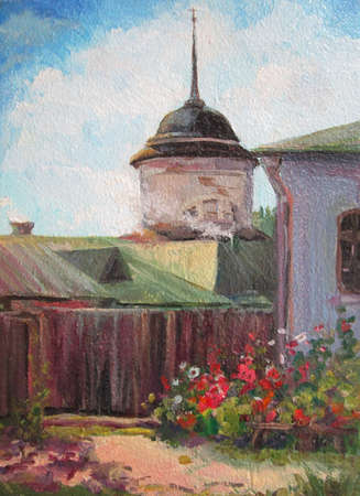 Summer in Suzdal, russian architecture, oil painting