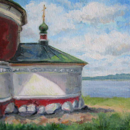 Russian church in Uglich, oil painting
