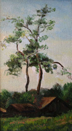 Two pine trees in the country in summer, painting