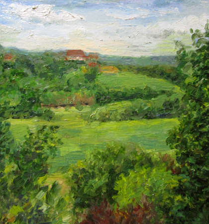 View from the hill in Russia, painting