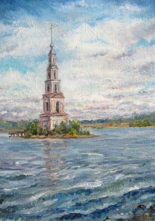 Tower in Kalyazin, summer day, Volga river painting 免版税图像