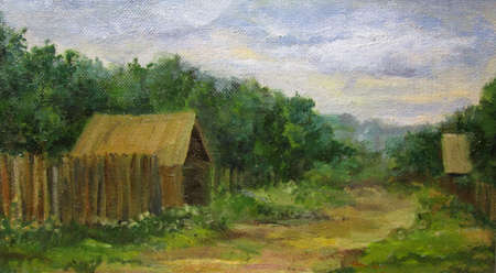 Russian villageand house in summer, painting