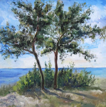Two pine trees on the beach in summer, painting