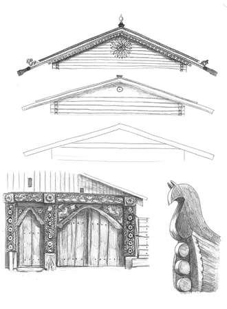 Elements of traditional russian house 版權商用圖片