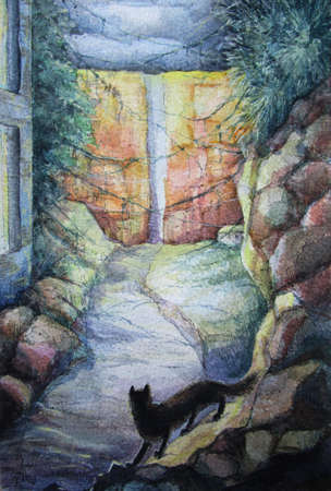A cat and a road, watercolor illustration