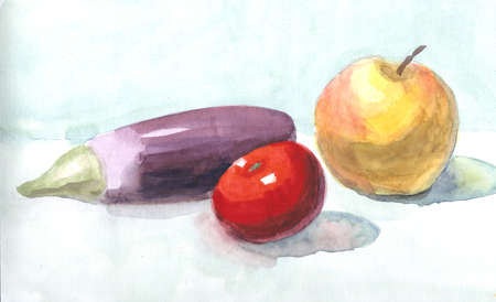 Sketch with eggplant, apple tomato watercolor