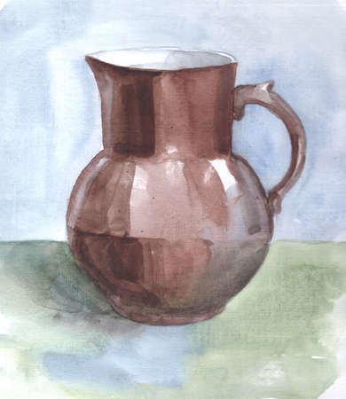 Brown Jug isolated painted with watercolors
