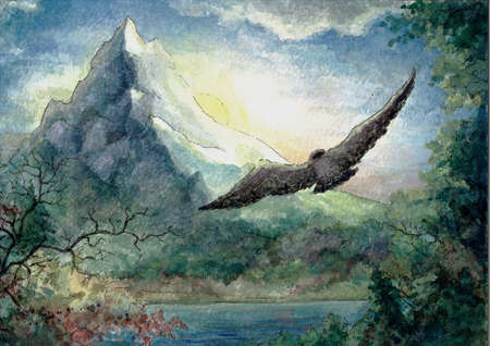 A falcon flying to the mountain in the morning, watercolor