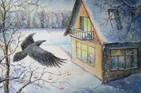 Crow and a house in winter, watercolor