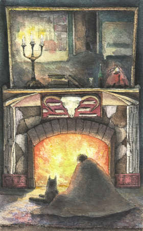 evening by the fireplace with a dog, watercolor