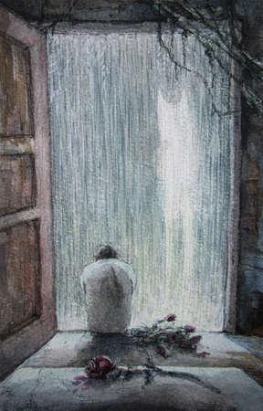 rain and the sad man, watercolor Stok Fotoğraf - 148177622