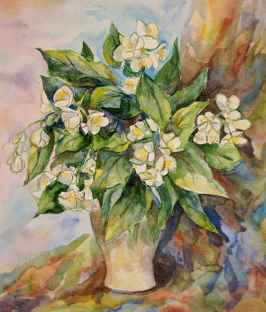 Watercolor bouquet of spring flowers