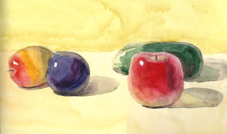 Sketch with a cucumber, apple and apricots watercolor