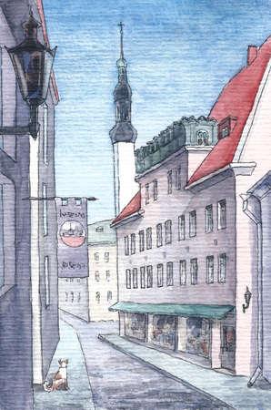Street in Tallin in watercolor