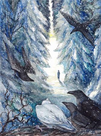 Watercolor landscape winter mystery crow sitting on tree.