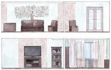sweep walls of a living room, watercolor 版權商用圖片