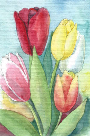 Watercolor card with colorful tulips
