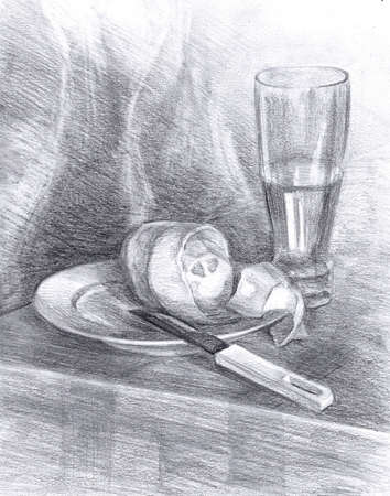 Still Life with Lemon and knife