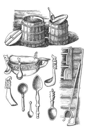 Household items of ancient Russia, ink