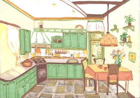 Sketch of a kitchen, gouache