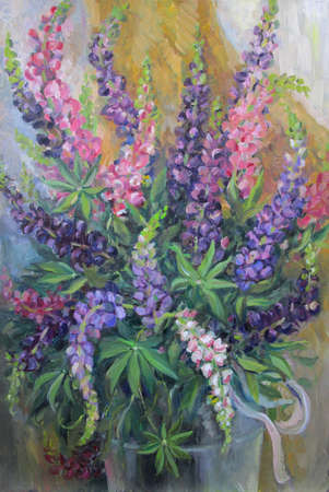 Bouquet of lupins, colorful summer still life, oil painting