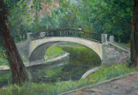 White bridge in a summer park, oil painting