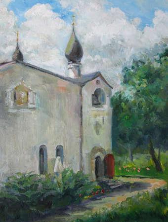Old Moscow monastery in summer, oil painting 版權商用圖片