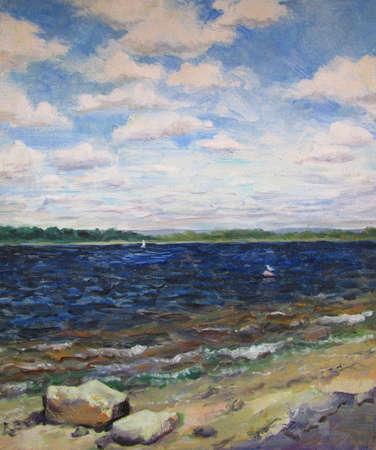 Dark blue Volga river in Samara, oil painting